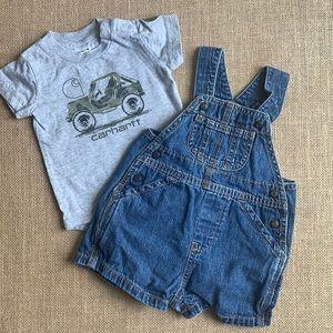 EUC Carhartt tee with Baby Gap denim overalls